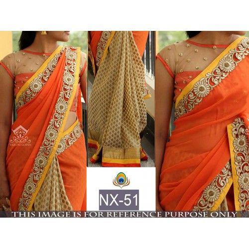 Gorgeous orange embroidered wedding saree