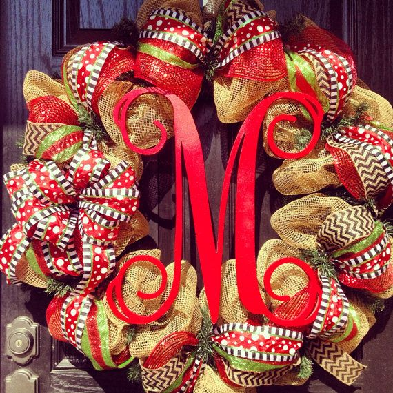 LARGE Burlap Christmas Wreath // Red // Lime Green // Black // Chevrons // Monogram wreath on Etsy, $145.00