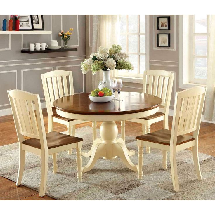 Furniture Of America Bethannie 5 Piece Cottage Style Oval Dining Set Vintage White