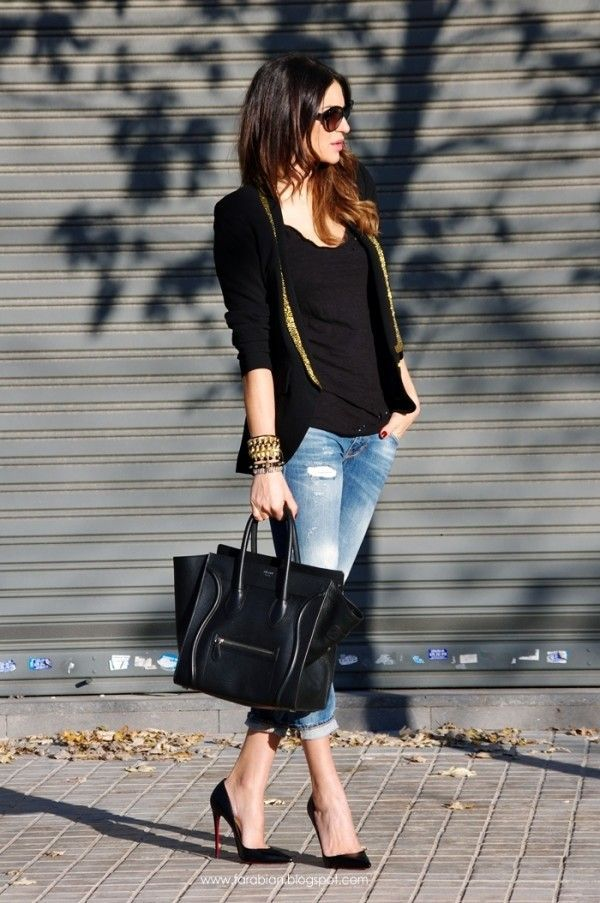 Try teaming a black and gold blazer jacket with baby blue distressed slim jeans for a casual-cool vibe. For footwear go down the classic route with black leather pumps.  Shop this look for $175:  http://lookastic.com/women/looks/blazer-sunglasses-tank-bracelet-pumps-tote-bag-skinny-jeans/5969  — Black and Gold Blazer  — Black Sunglasses  — Black Tank  — Gold Bracelet  — Black Leather Pumps  — Black Leather Tote Bag  — Light Blue Ripped Skinny Jeans