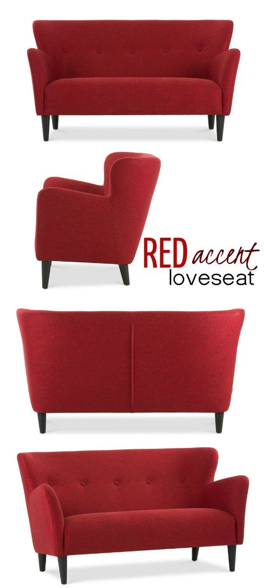 Getting inspiration from the 1950's, this loveseat settee features a vintage mid century contemporary attractiveness. Tailor-made perfectly in a stylish red textile together with flared, upward sloping arms and a button tufted back, this very unique seat is probably set in place to create a striking trend statement.