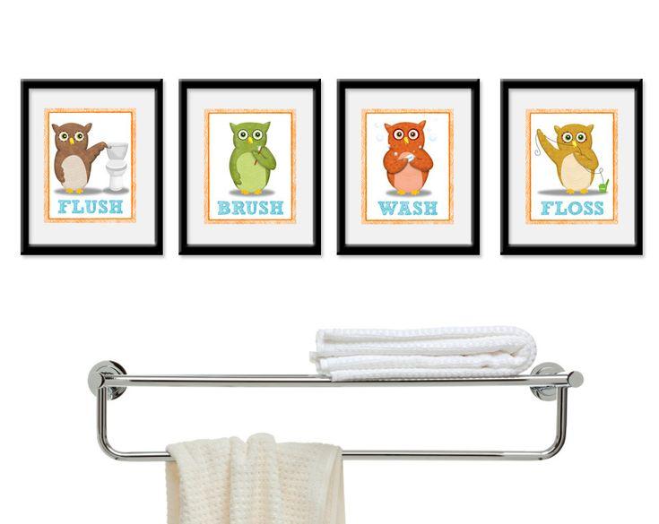 Bathroom Decor   Owl Theme Childrenu0027s Bathroom Art   Kids Bathroom Decor    Four 8 X