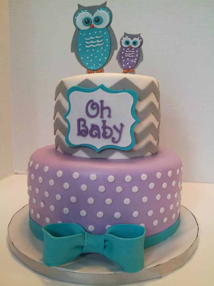 Owls baby shower cake, chevron grey purple and teal https://www.facebook.com/TheSweetestThingCakesByGina