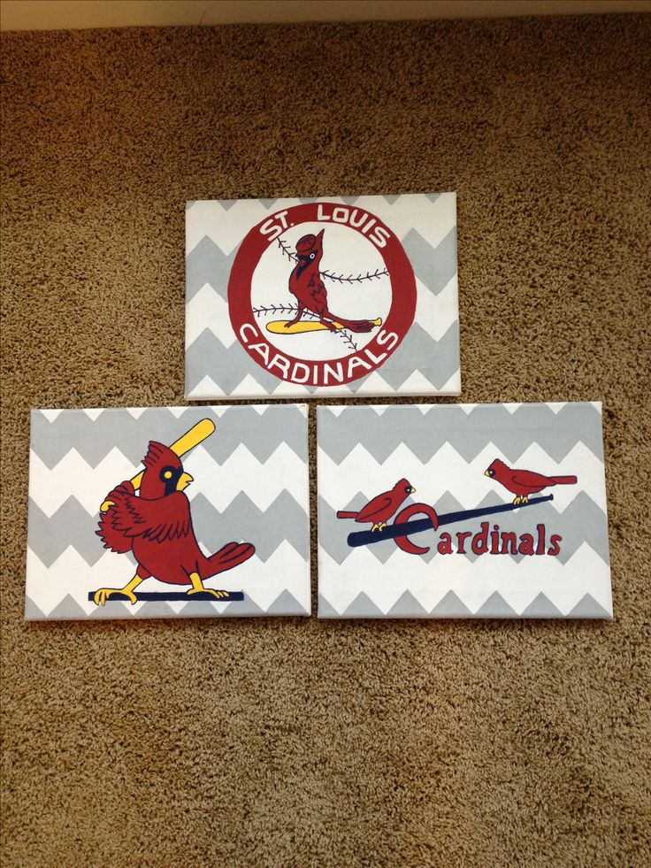 Old logo St Louis Cardinals canvases! So happy with how they turned out. #chevron #baseball #12in13