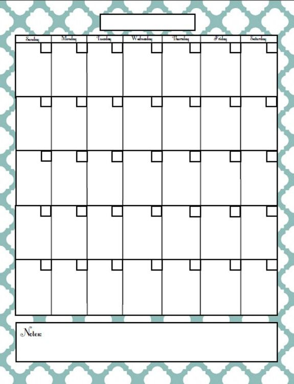 Printable monthly calendar.