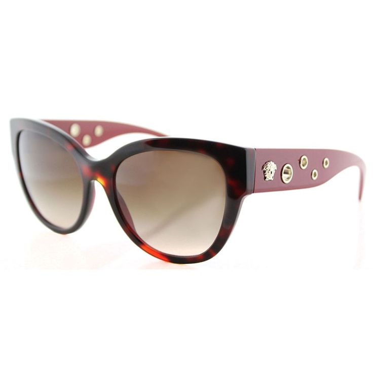 Versace VE 4314 518413 Bordeaux Havana Cat-Eye Brown Gradient Lens Sunglasses