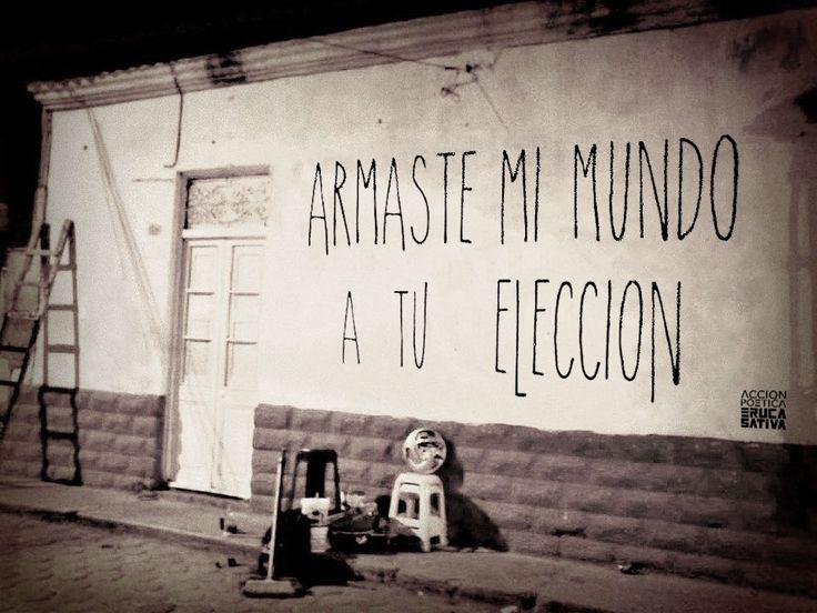 Armaste mi mundo a tu eleccion #Acción Poética Eruca Sativa #calle