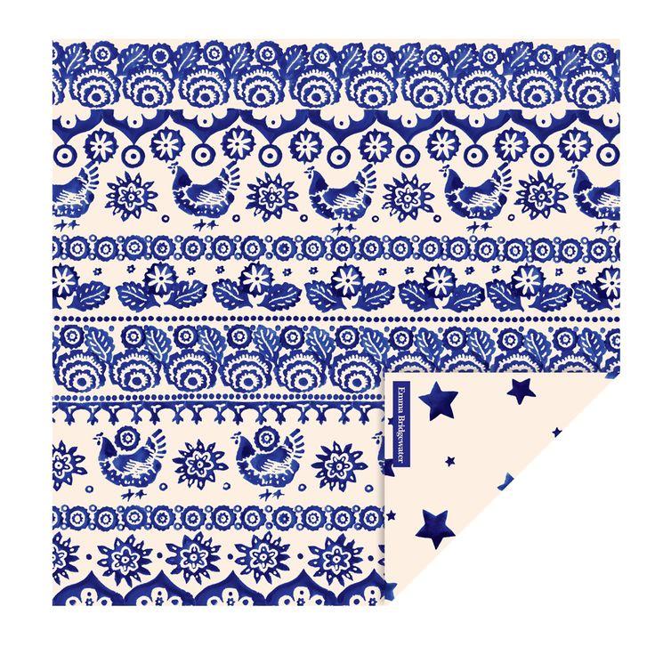 Blue Hen & Border Paper Lunch Napkins