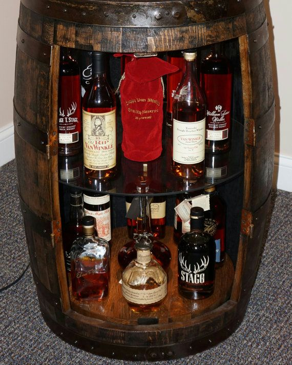 Whiskey Barrel Display Liquor Cabinet With Double Lazy
