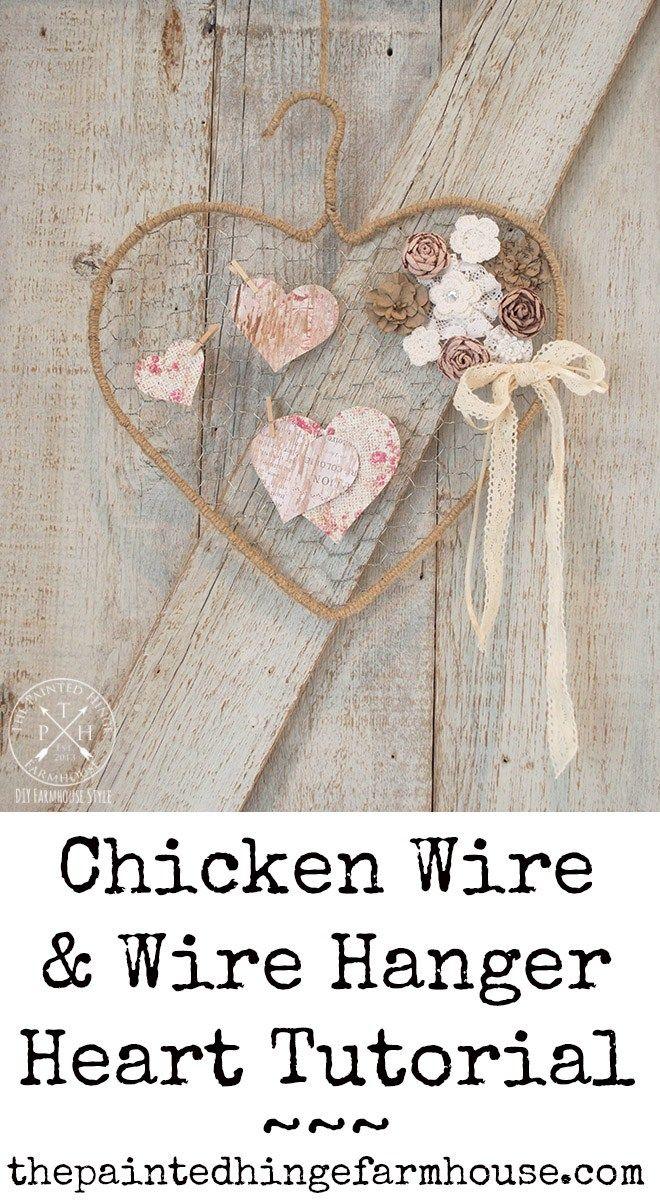 Chicken Wire and Wire Hanger Heart Tutorial | Crafts | Chicken wire