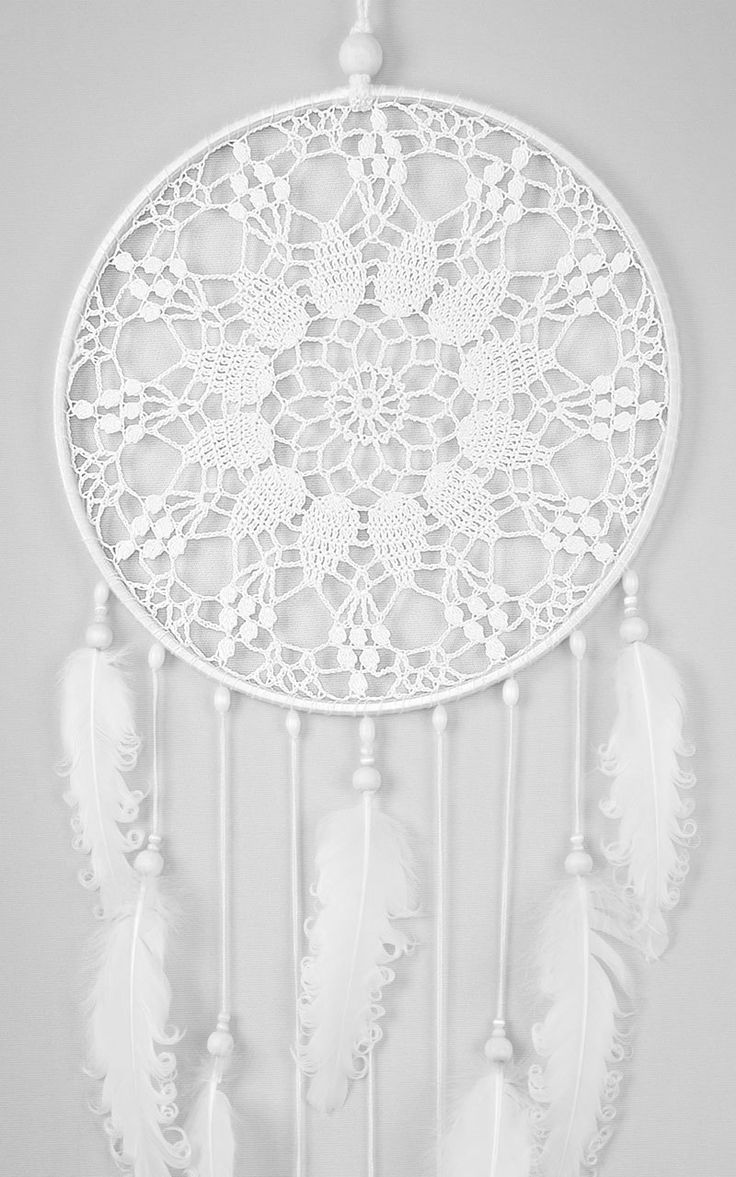 Large White Doily Dream Catcher, Crochet Doily Dreamcatcher with white curly feathers, boho style, wedding decorations, wall hanging, wall decor, handmade dreamcatcher, lace dreamcatchers, stylish design.  It will defend you and your family from bad dreams and fight against evil spirits trying to creep into your house at night because they will become confused and tangled in its web. It brings love, light and positive energy and allows only your good dreams to slip down the feathers to bless…