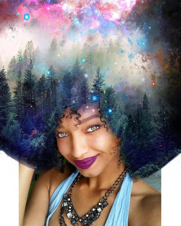 Jean-Louis paints mystical images of the universe and nature onto images of Black women's natural hair. His intricate works feature flowers, vines, and even an entire forest, all seamlessly woven into coils and kinks. Jean-Louis even invites his followers to tag him in their photos on Instagram so that he can consider their portraits as well. Instagram: @pierre_artista