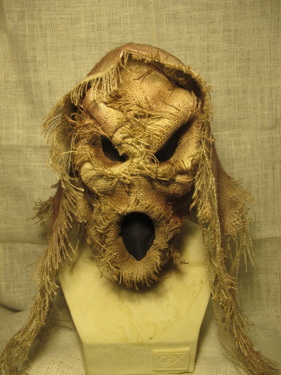 Handmade Burlap Ghost Scarecrow Latex Halloween Mask by rigator, $80.00