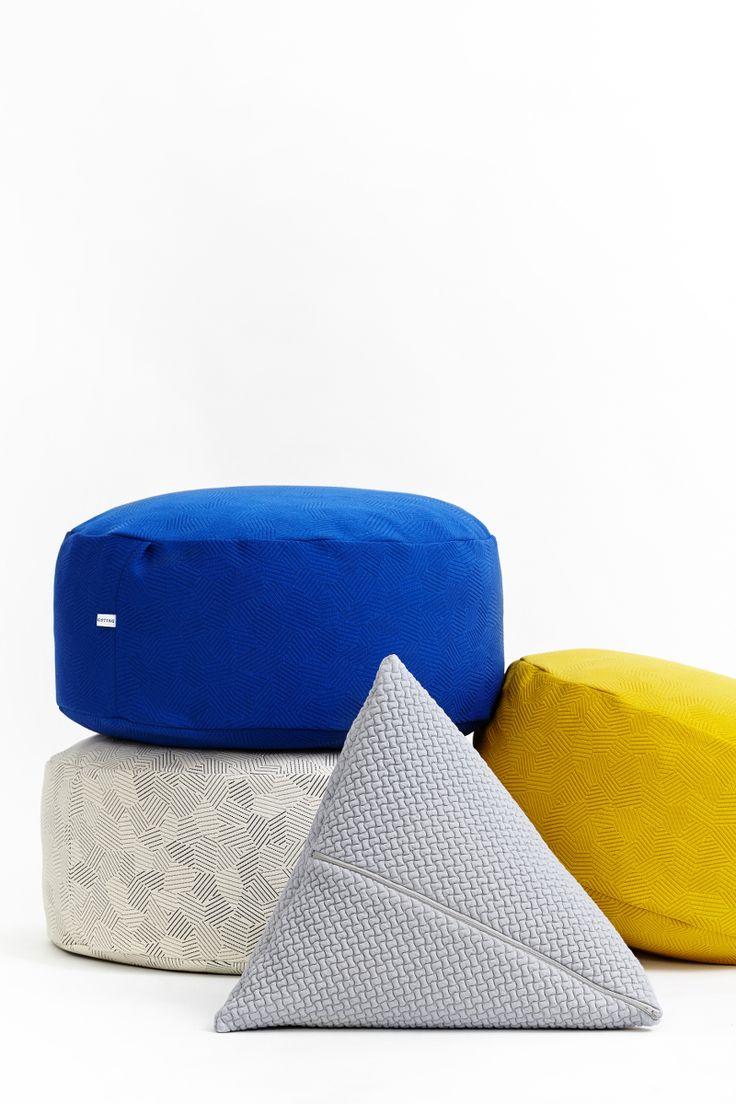 KONTRAST pouf and BARK cushion by Yndlingsting.