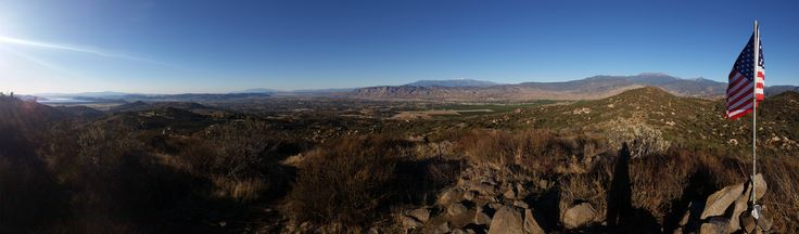 San Jacinto Valley and the three tallest mountains in southern California (labeled version in comments) [OC][10464 x 3072]