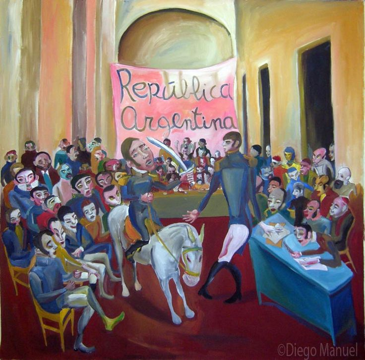"""""""Asamblea de las provincias """", acrilico sobre lienzo, 100 x 110 cm. , 2001. Cuadro en venta de la Serie Historia Argentina del artista plastico Diego Manuel"""