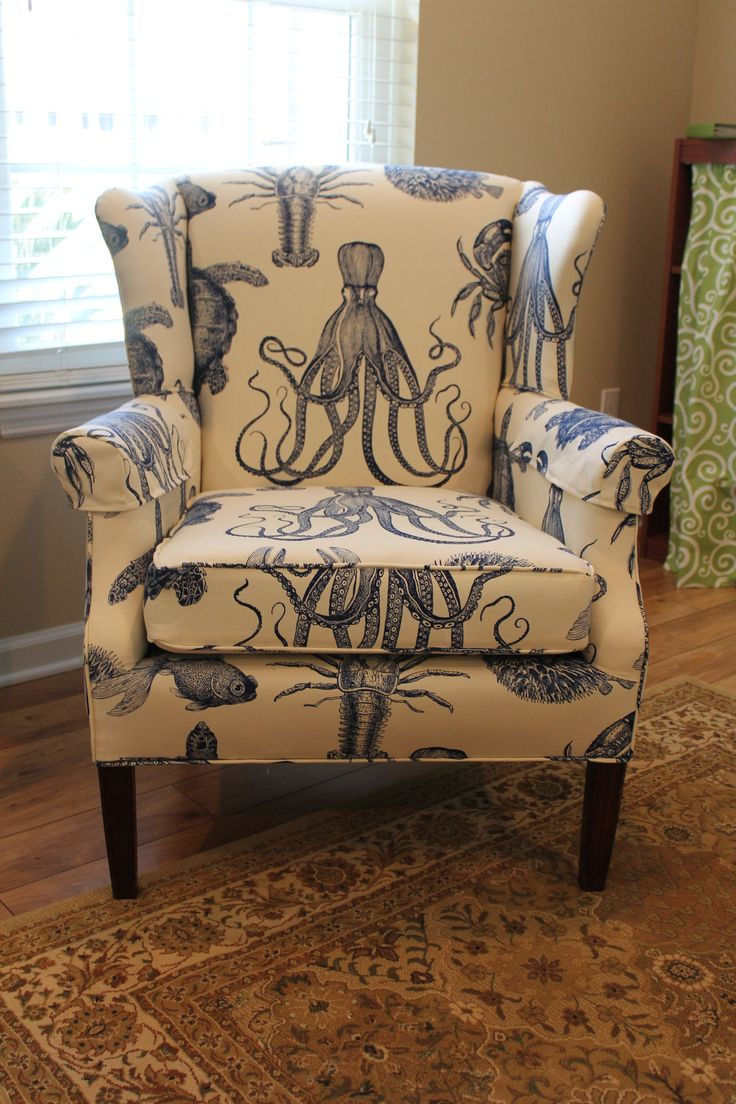 Wingback Chair covered in Duralee's Aquadisiac. AKA Octopus Chairs.