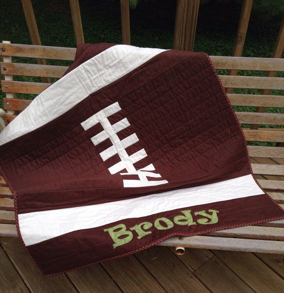 Throw size quilt. Football Ready to ship by MySouthernDream