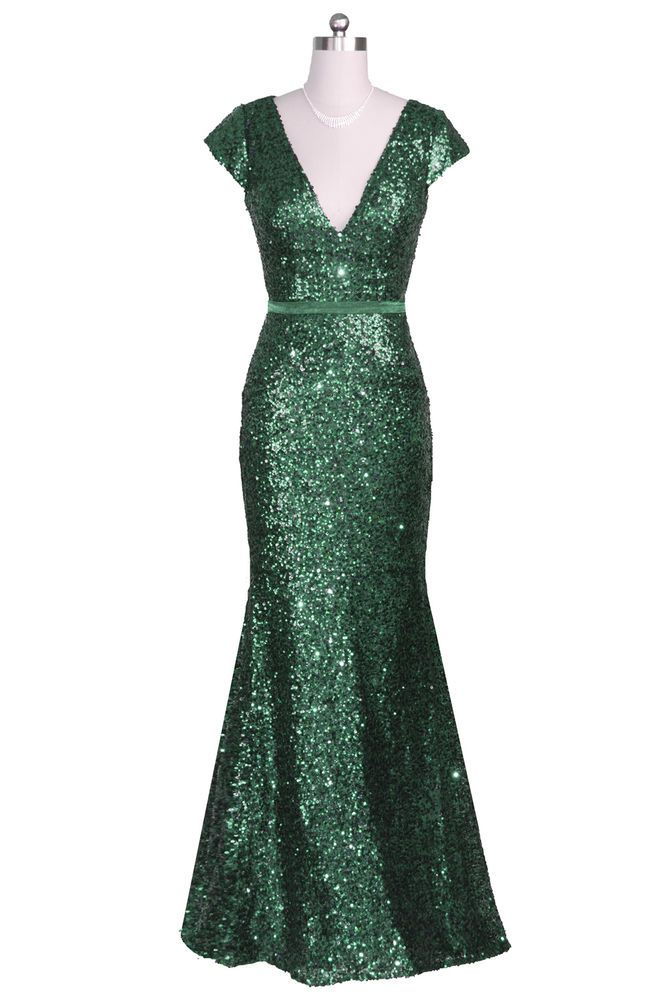 Emerald Green V neck Sequin Cap Sleeves Long Evening Prom Bridesmaid gown 8-20 in Clothes, Shoes & Accessories, Clothes, Shoes & Accessories | eBay