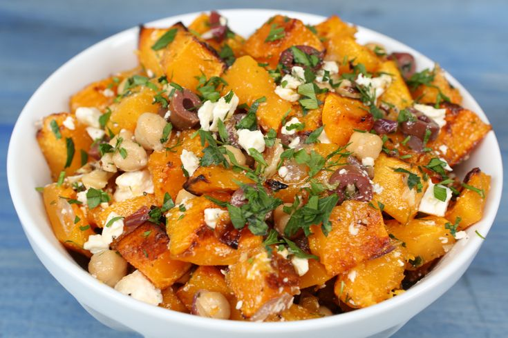 Salty feta cheese and olives are the perfect flavor balance to sweet, caramelized butternut squash in this simple, satisfying side dish. Bulk the salad up with rotisserie chicken and serve over bulgur, rice, or couscous for a hearty fall entree.