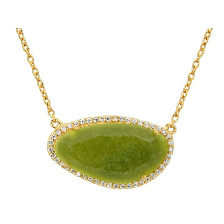"""Gold Plated Sterling Silver Lime Jade Slice Stone Necklace, 16"""" #SterlingSilverStone"""