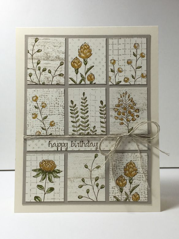 handmade card by Maui Stamper ... Flowering FIelds ... grid with collaged stamped rectangles ... Stampin' Up!