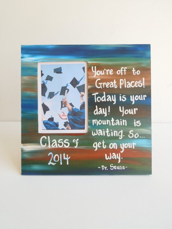 """Graduation picture frame Class of 1014 photo frame. Ready to ship. Customization free. Quote from """"Oh, the Places You'll Go!"""" by Dr.Seuss on Etsy, $19.99"""