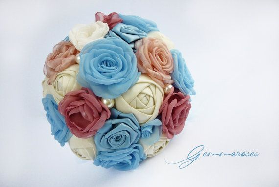 Bridal Fabric Bouquet Ivory Pink Blue Handmade by gemmaroses