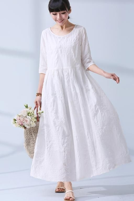f38b2da2ca41f National Wind Summer Elegant Jacquard Cotton Linen Casual Loose Maxi Long Women  Dress