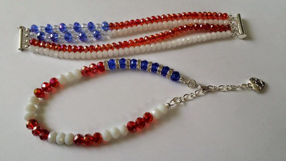 Matching set Patriotic 4th of July Jewelry by FancyPawsDogBoutique, $22.00