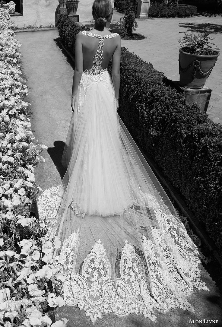 alon livne 2017 bridal sleeveless v neck heavily embroidered bodice tulle skirt romantic flowy modified a  line wedding dress rasor back royal train (christine) bv #wedding #bridal #weddingdress