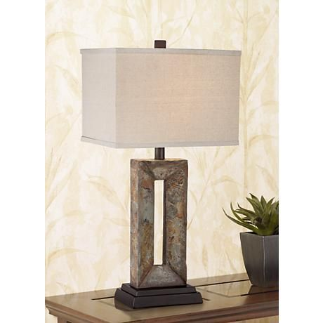 "Tahoe Small Rectangular Slate Table Lamp 26""'H shade 13w  x 9.5 d"