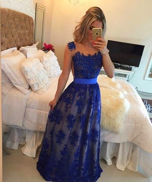 vestido formatura azul