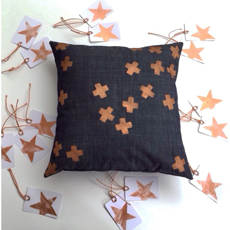 NEW!! My ➕one industrial 'tumbling confetti -plus' cushion in metallic copper  hand-painted onto a deep indigo coloured cotton and is pictured in amongst my handpainted range of 'starlight starbright' metallic copper gift tags.  individually hand-painted + handmade using eco friendly water based metallic fabric paints:   Claire Webber, Hobart, Tasmania   For more info.   webberclaire1@gmail.com
