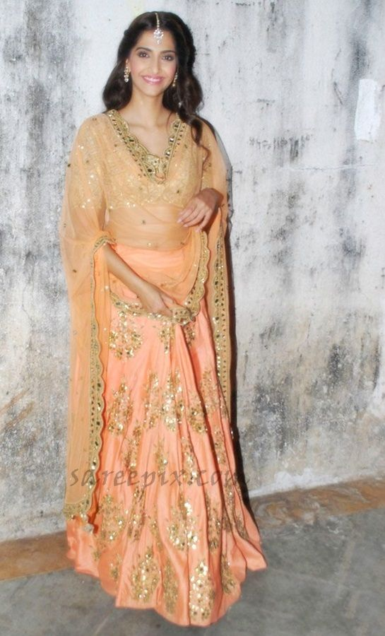 @sonamakapoor in peachy gold #Lehenga ensemble by @arpita_mehta http://ArpitaMehta.in/ Dec, 2014