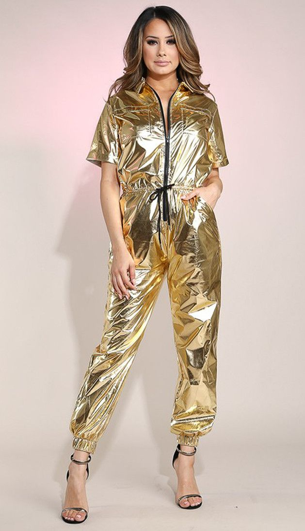 ebdbef98d81 Short Sleeve Metallic Utility Jumpsuit - Gold