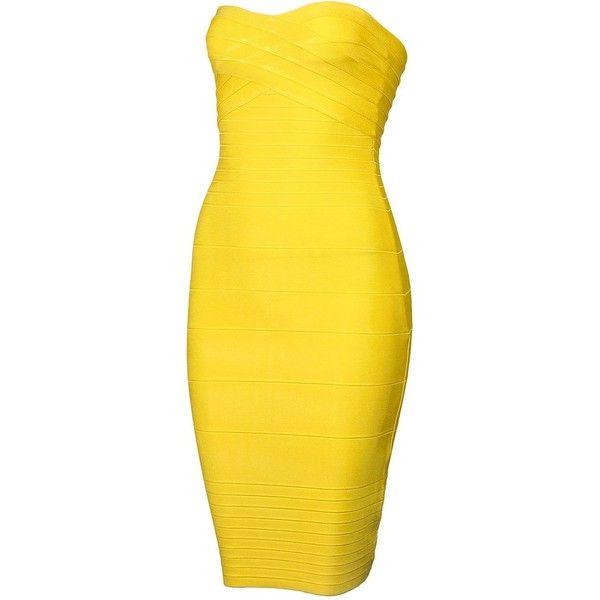 yellow v neck bandage dress forever