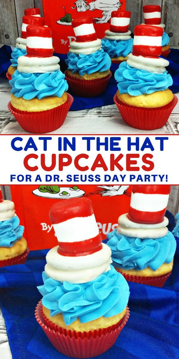 Cat in the Hat cupcakes are the perfect treat to make for a Dr. Seuss Day party or Dr. Seuss birthday party. When it comes to Dr. Suess Day ideas, these Cat in the Hat cupcakes take the cake – pun intended! Made using boxed cake mix and premade frosting, the only thing you really need to spend time on is the fun Cat and the Hat topper that sits on top of the cupcakes! #DrSeuss #CupcakeRecipes #kidsparty