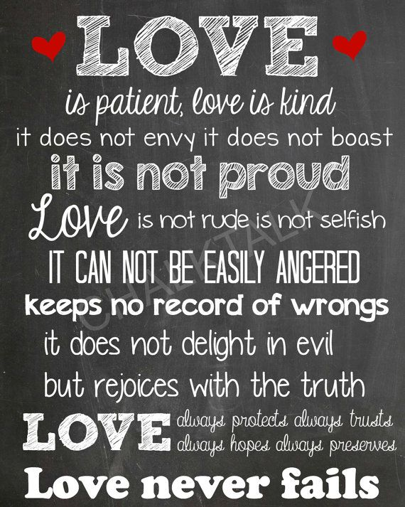 Love Is Patient Chalkboard  Love Is Patient by ChalkTalkDesigns