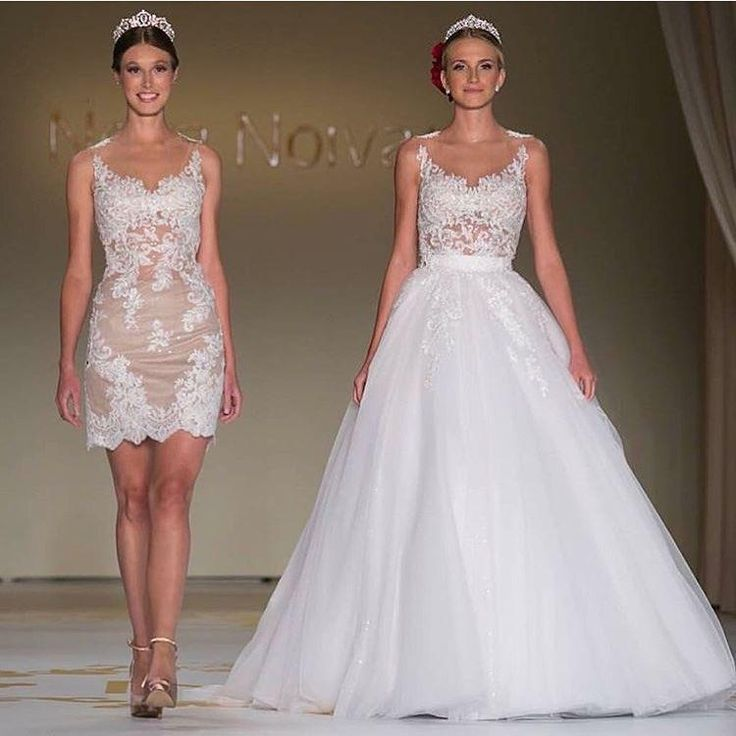 2016 Two Pieces Lace Over Skirt A Line Wedding Dresses V Neck Sweep Train Detachable Train