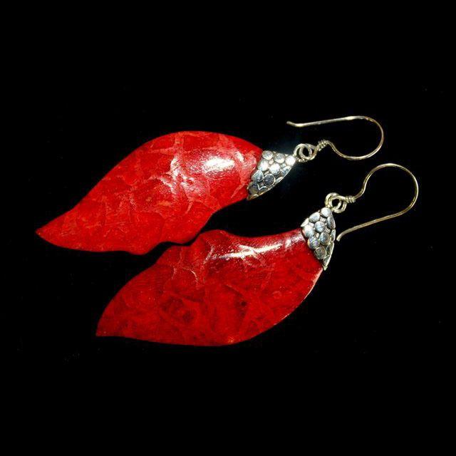 Leaf Drop Coral Earrings