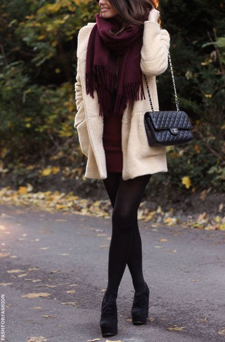 Dressy thanksgiving dinner outfit. Tighter dress, opaque tights, black booties and a larger coat.