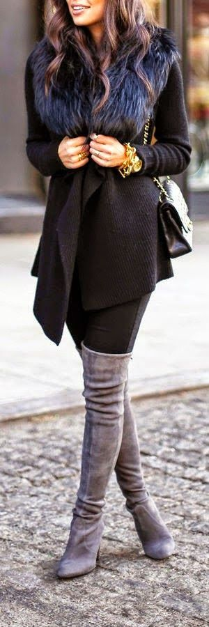 Love the grey suede over-the-knee boots and the drapey black sweater coat with the fur collar -  I think I'd just want non-stilletto heels on the boots. Maybe a wedge and an almond toe instead of pointy.