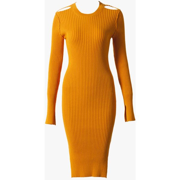 Stretch-Knit Sweater Dress ($139) ❤ liked on Polyvore featuring dresses, bright orange, stretch knit dress, bright dresses, orange sweater dress, sweater dress and bright colored dresses