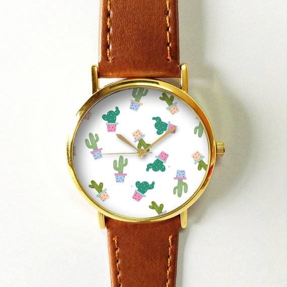 Cactus Watch Women Watches Ladies Watch Leather Watch Vintage Style Jewelry Succulents Planter Spring Personalized Watch Wedding Gift Bridal