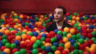 The Big Bang Theory Sheldon Bazinga! in ball pit - funny every time!