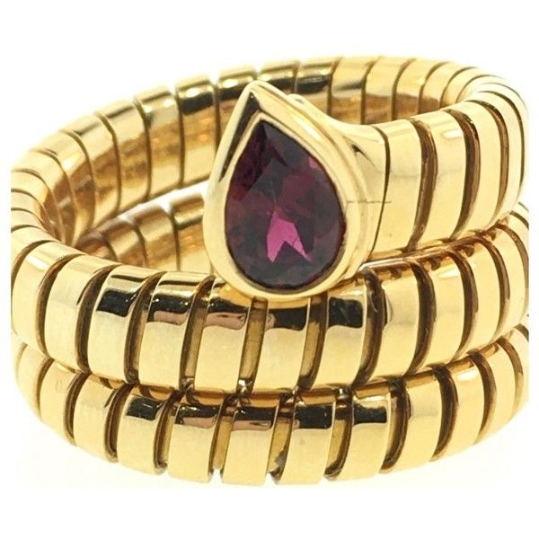 preowned bulgari tubogas 18k yellow gold with garnet snake ring liked on polyvore featuring jewelry rings yellow gold garnet ring