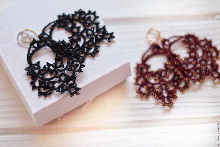 """Купить Кружевные серьги """"Герцогиня"""" - черный, марсала, черные серьги, кружевные серьги, платье марсала"""