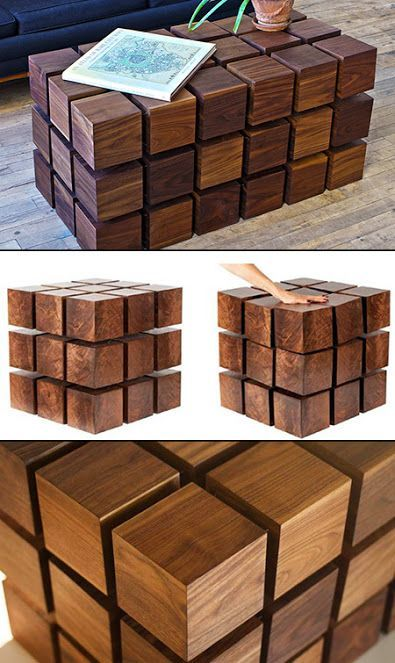 Wooden cube coffee table design by RockPaperRobot. There are NO rigid parts connecting the cubes - they are levitated over each other via magnets! The overall shape is maintained by thin metal cables preventing the cubes from pushing too far apart.