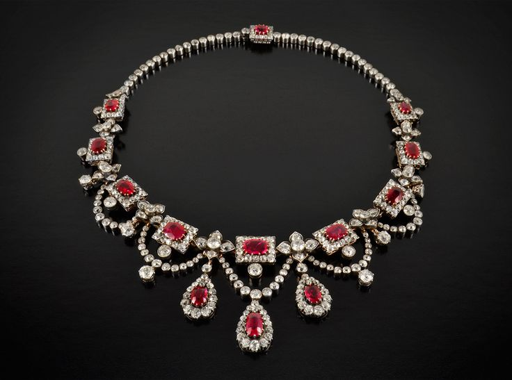 Victorian Diamond and Burmese Ruby Necklace  Magnificent and rare diamond and Burmese ruby necklace, circa 1850. Price Available Upon Request